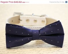 Navy Dog bow tie  Dog Bow tie with high quality by LADogStore