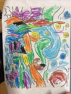 Okul öncesinde sanat eserlerinin değeri/ Van gogh/ yıldızlı gece isimli tablo/ sanat etkinliği/ boyama