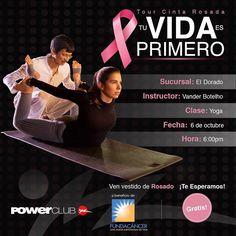 Hoy continúa el #TourCintaRosada @powerclubpanama @fundacancer en la sucursal #ElDorado con #Yoga #YoLucho #TuVidaEsPrimero