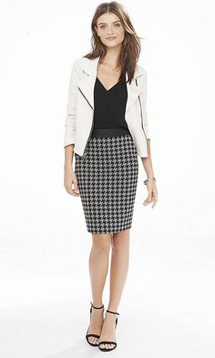 Houndstooth And (minus The) Leather Pencil Skirt from EXPRESS