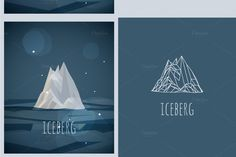 vector low-poly iceberg. poster by fet on Creative Market