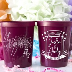 Let Sparks Fly Stadium Cups - Custom designed and printed, personalized 16 oz. plastic stadium cups help you Celebrate Happy even before your event starts. Perfect for any wedding or event!  - Yippee Daisy  #partycups #weddingdecor #bacheloretteparty  - Yippee Daisy