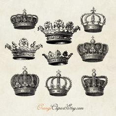 Vintage Crowns Digital Collage Sheet No. C15 by OrangeTail on Etsy