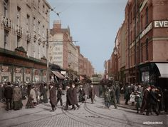 Colourising History - North Earl Street, Dublin, Ireland circa 1910. Old Pictures, Old Photos, Images Of Ireland, Photo Engraving, Emerald Isle, Dublin Ireland, Bobs, Israel, Irish