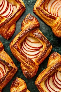 This miso caramel apple danish recipe incorporates brown sugar, miso, heavy cream, apples and sour cream to create the ultimate fall dessert recipe. Whether you're eating this apple recipe as a dessert alongside vanilla ice cream or for breakfast or brunch, it's a great choice for a danish recipe.#dessertrecipes #fallrecipes #caramelapplerecipes #brunchrecipes #applerecipes Apple Danish, Croissant Dough, Elegant Desserts, Fall Desserts, Apple Desserts, Apple Recipes, Fall Recipes, Sweet Recipes, Breakfast Pastries