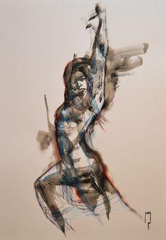 """flamenco"" - Michele Petrelli - acrylic and oil on wood ballasted - 2012"