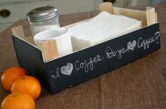 Wonderfully simple idea.  Make a breakfast tray from an old fruit crate by just adding chalkboard paint.