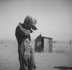 A young boy in dust storm. Oklahoma. April 1936. PBS' The Dust Bowl
