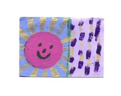 ACEO Original Acrylic, Watercolor, & Gouache Painting Happy Sun Signed US Art #IllustrationArt