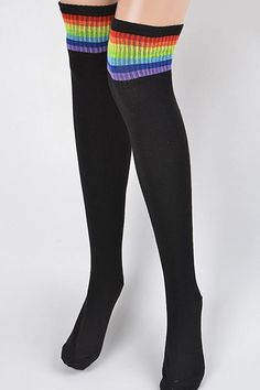 * Take Me To High School Socks Long over the knee tube style socks with top rainbow stripes Edgy Outfits, Cosplay Outfits, Cool Outfits, Grunge Fashion, Retro Fashion, Daughter Of Zeus, Knee Socks, Looks Cool, Aesthetic Clothes