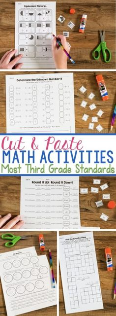 Engage students in no-prep hands-on activities that get them thinking about math.  These Cut & Paste Math Activities for Third Grade help students strategically reason through which answer is correct.  Students also have to explain their thinking and write in answers.  It's not just matching! #cutandpaste #thirdgrademath #thirdgrademathstations