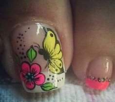 Simple Toe Nails, Pretty Toe Nails, Cute Toe Nails, Gorgeous Nails, Love Nails, Flower Toe Designs, Summer Toe Designs, Toe Nail Designs, Manicure