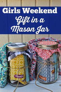 Girls Weekend Gift in a Jar, Mason Jar Gift Idea, Girls Weekend Goodie Bag