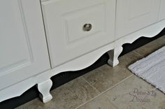 DIY Furniture Style Cabinets- Put some nifty legs and skirting on boring stock cabinets!
