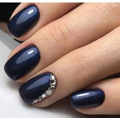 TM Transfer Decorations Multicolor Navy Blue with a glimmer of shimmer and rhinestone encrusted accent nail.Navy Blue with a glimmer of shimmer and rhinestone encrusted accent nail. Prom Nails, 3d Nails, Cute Nails, Coffin Nails, Pink Coffin, Navy Blue Nails, Blue Glitter, Nail Art Blue, Blue Gel Nails