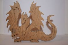 Lythe Dragon stand up wooden jigsaw puzzle £15.95 Handmade on the scroll saw