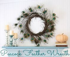Peacock Feather Wreath--@cbails I've never seen one like this before, I feel like it's right up your alley