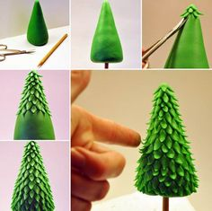 How To Make A Christmas Tree Topper With Fondant Icing Christmas tree cake toppers are an easy to make fondant icing decoration for your Christmas cake. Here's how to make a Christmas tree topper wit… Christmas Cake Designs, Christmas Cake Topper, Christmas Tree Cake, Christmas Cake Decorations, How To Make Christmas Tree, Christmas Cupcakes, Christmas Baking, Christmas Christmas, Xmas Trees