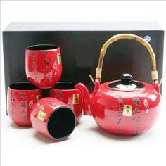 Japanese Tea Set Teapot Teacup Red kanji $30.18
