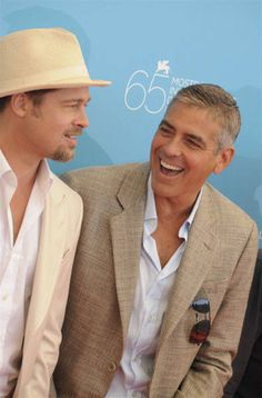 George Clooney & Brad Pitt both Amal Clooney, George Clooney, Gorgeous Men, Beautiful People, Julia Roberts, Celebs, Celebrities, Brad Pitt, Best Actor