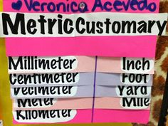 Measurement Metric and Customary both listed from smallest to greatest to show the order.