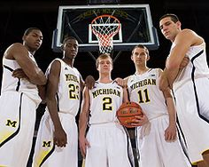 (Right to Left) Glenn Robinson III Caris LeVert Spike Albrecht (NOT #11) Mitch McGary - Caris LeVert #23 is the son of Darryl LeVert, a classmate of mine at Capital University.