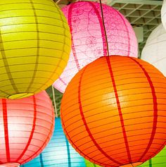 paper #lanterns This would be cool with white along with varying shades of red and blue. Mod podge, maybe?