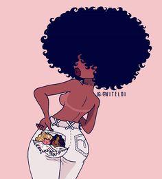 Sonhadora, now I'm up Black Love Art, Black Girl Art, Art Girl, Black Girl Cartoon, Dope Cartoon Art, Natural Hair Art, Pelo Natural, Drawings Of Black Girls, Black Art Pictures