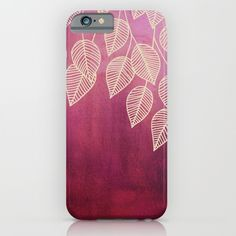 Magenta+Garden+-+watercolor+&+ink+leaves+iPhone+&+iPod+Case+by+Micklyn+-+$35.00