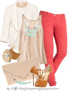 coral skinny jeans outfit