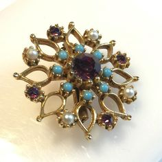 Vintage Flower BROOCH, pearl turquoise purple colored stones by VintageFlowerTop on Etsy