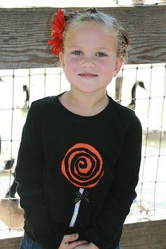 The Polka-Dot Umbrella: Halloween Lollipop Shirt (Reverse Appliqué)