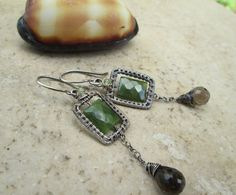 sterling earrings with vesuvianite and by EdisLittleTreasures, $64.00