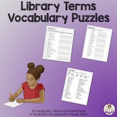 Teaching students library terms can be challenging. Using vocabulary puzzles can be fun and educational. These puzzles can be used to review the terms or introduce them. Students often forget these terms and these puzzles are a fun way to review. Included in this product are 6 vocabulary puzzles that will help students learn 25 different library terms. #vocabulary #schoollibrary #libraryskills