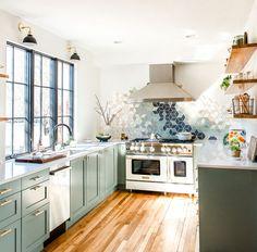 Full Reveal of our Modern U-Shaped Kitchen Remodel Heartbeet Kitchen Modern Kitchen Renovation, Kitchen Remodel, Renovation Budget, Camper Renovation, Kitchen Modern, Modern U Shaped Kitchens, Green Cabinets, Küchen Design, Design Ideas