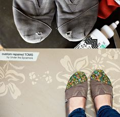 diy shoe repair toms via lilblueboo.com  http://ashleyannphotography.com/blog/2012/02/15/diy-custom-repaired-toms/#