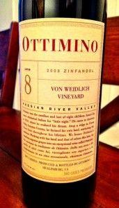 Ottimino 2008 Von Weidlich Zinfandel- Rich, Indulgent, and Incredibly Good! (A-, $36)
