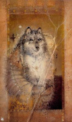 'Shaman Grandfather Wolf' by Susan Seddon Boulet.