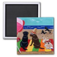 Summer Breeze Labradors Painting Refrigerator Magnet