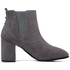 Gray 36 Elastic Side Panel Slip On Ankle Boots (€19) ❤ liked on Polyvore featuring shoes, boots, ankle booties, grey bootie, grey booties, pull on boots, bootie boots and ankle boots