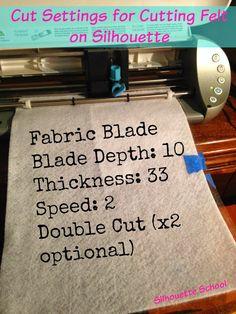 Silhouette cut settings for cutting felt
