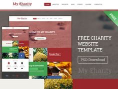 Free charity website template PSD.