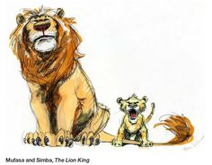 mufasa y simba, primeros bocetos