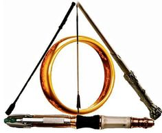 Wand from Harry Potter, Sonic Screwdriver from Doctor Who, The Ring of Power from Lord of the Rings, Katniss' Arrow from the Hunger Games, and the Riding Crop from Sherlock. :)  All my fandom love combined to make the Deathly Hallows.  Throw in a lightsaber and we're money.