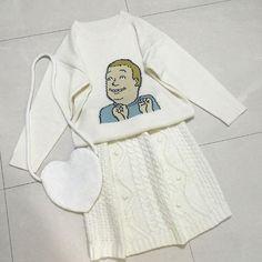 BOBBI KING OF HILL CARTOON KNIT WHITE SWEATER #print #grunge #ulzzang #southkorean #koreanfashion #fashion #trendy #cute #kawaii #harajuku #aesthetic #aesthetics  #japanese #tumblr #tumblrgirl #tumblroutfit #clothing #outfit #itgirlshop #itgirlclothing #white #sweater #knit