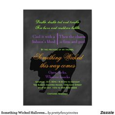 Something Wicked Halloween Invitation Adult Halloween Invitations, Toil And Trouble, Diy Adult, Something Wicked, Chalkboard Background, Cauldron, Spelling, Keep It Cleaner, Games