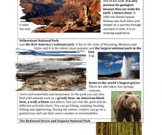 This worksheet contains several cards with information about some places of interest that can be found in the USA. I have tried to include the most interesting information. Each student shal