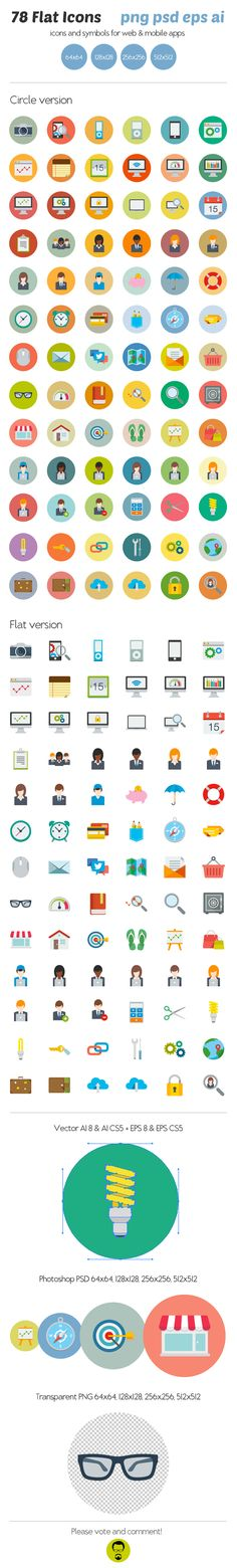 78 Flat Icons by Ottoson, via Behance