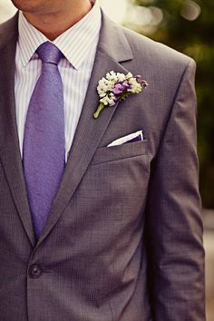 Lilac tie with complementing pocket square and boutonniere