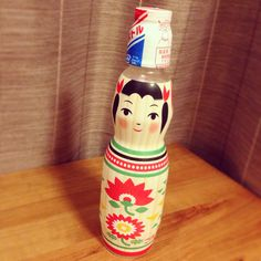#Japanese Soda Pop #Packaging Japanese Packaging, Kokeshi Dolls, Modern Times, Wooden Dolls, Cute Faces, Package Design, Japanese Food, Soda, Wrapping